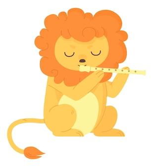 Leão africano fofo com os olhos fechados tocando flauta no estilo cartoon plana