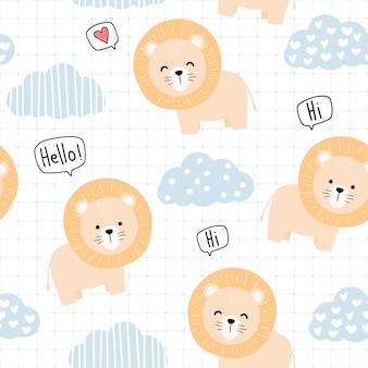 Leão animal bonito dos desenhos animados doodle padrão sem emenda