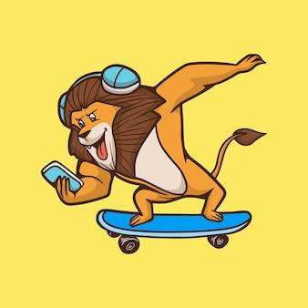 Leão animal de desenho animado andando de skate mascote fofo