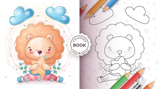 Leão animal personagem de desenho animado com livro de colorir estrela
