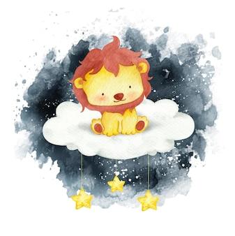 Leão bebê em aquarela sentado na lua