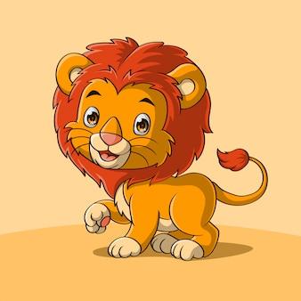 Leão bebê fofo acenando uma mão