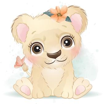 Leão bebê fofo com floral