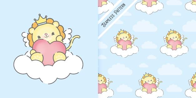 Leão bebê fofo em uma nuvem e padrão uniforme