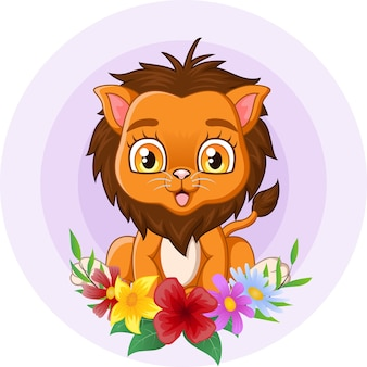 Leão bebê fofo sentado com flores no fundo