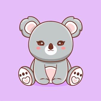 Leão bebê fofo sentado ilustração vetorial de ícone de vetor. conceito de ícone de natureza animal isolado vetor premium. estilo flat cartoon