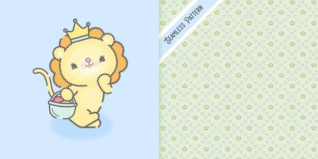 Leão bebê kawaii fofo com cesta de morangos e coroas padrão sem emenda premium