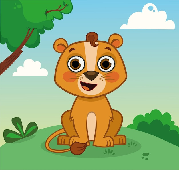 Leão bebê personagem de desenho animado