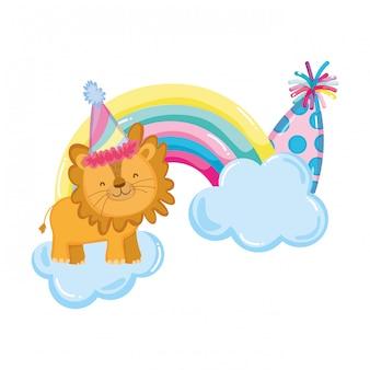 Leão bonitinho e pequeno com chapéu de festa e arco-íris