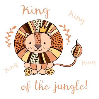 Leão bonitinho no estilo doodle