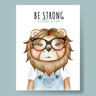 Leão bonito com berçário de ilustração em aquarela de óculos