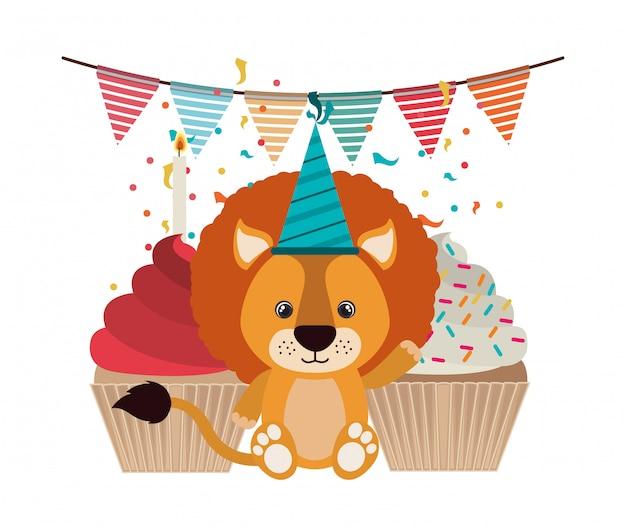 Leão bonito com chapéu de festa de aniversário