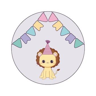 Leão bonito com festa de chapéu e guirlandas