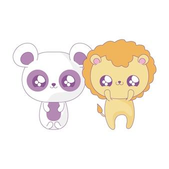 Leão bonito com urso panda animais bebê estilo kawaii