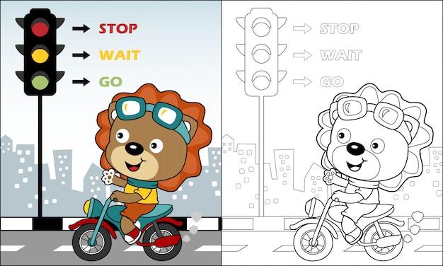 Leão bonito dos desenhos animados andando de moto na estrada