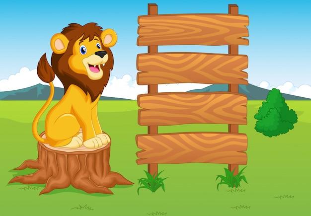 Leão bonito dos desenhos animados com sinal de madeira