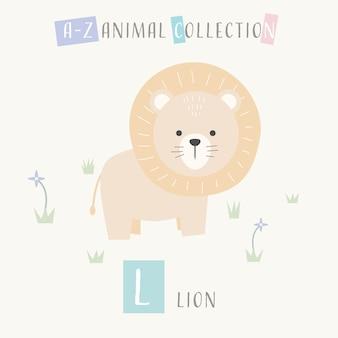 Leão bonito dos desenhos animados doodle alfabeto animal l