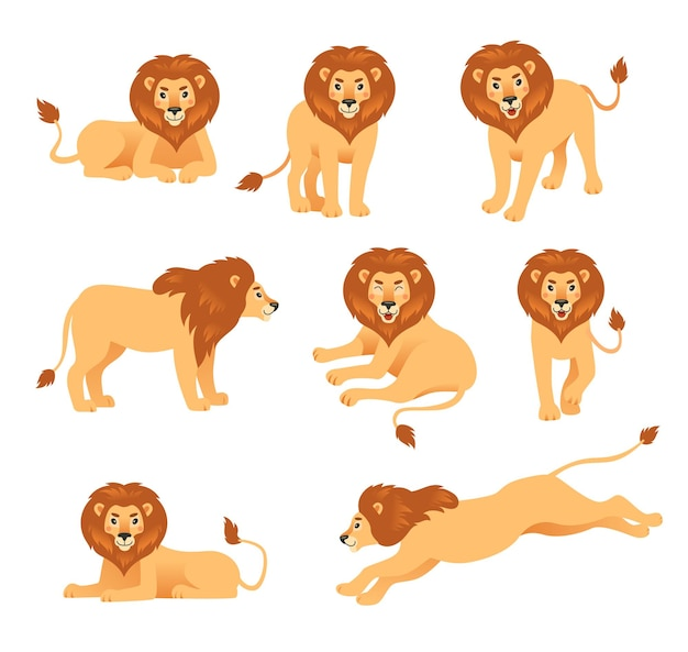 Leão bonito dos desenhos animados em diferentes poses de ilustração