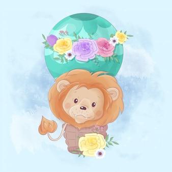Leão bonito dos desenhos animados em um balão com lindas flores