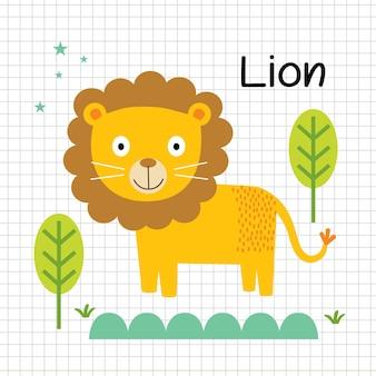 Leão bonito dos desenhos animados isolado em imagem vetorial