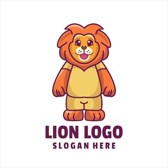 Leão bonito dos desenhos animados logo vetor