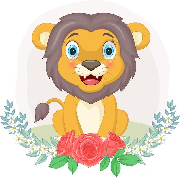 Leão bonito dos desenhos animados, sentado com fundo de flores