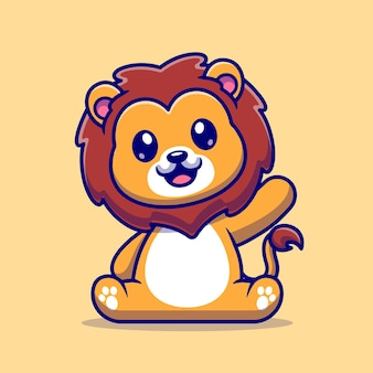 Leão bonito sentado ilustração vetorial de ícone de vetor. conceito de ícone de natureza animal isolado vetor premium. estilo flat cartoon