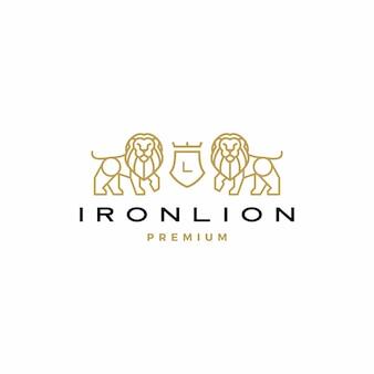 Leão brasão de armas logotipo icon ilustração