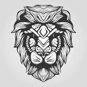 Leão cabeça linha arte preto e branco