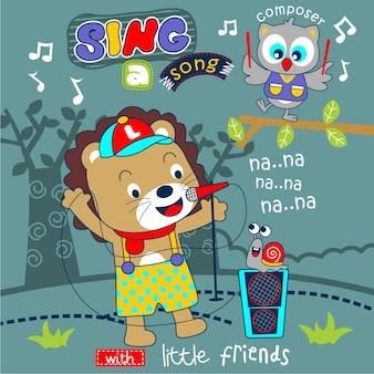Leão canta uma canção com os amigos