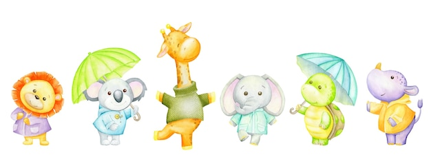 Leão, coala, girafa, elefante, tartaruga, hipopótamo, guarda-chuvas. conjunto em aquarela de animais tropicais. Vetor Premium