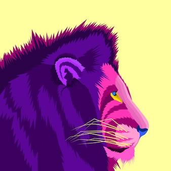 Leão colorido do estilo de conceito roxo pop art