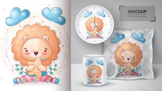 Leão com cartaz estrela e vetor eps 10 de merchandising