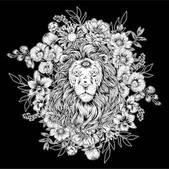 Leão com flores