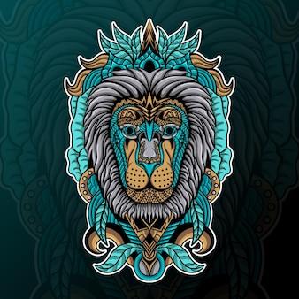 Leão com ilustração de ornamento zentangle