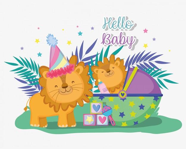 Leão com seu filho para comemorar o chá de bebê