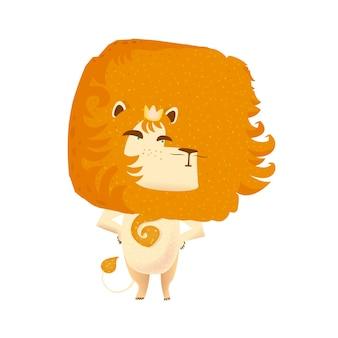 Leão. coroa do rei. animais do zoológico. animais isolados.