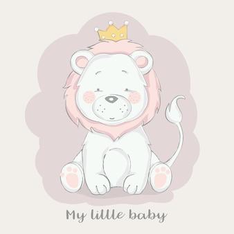 Leão de bebê fofo com desenho de coroa