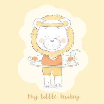 Leão de bebê fofo com desenhos animados de exercício