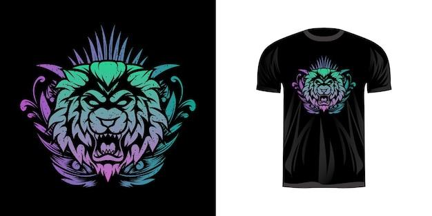 Leão de cabeça de ilustração com coloração de néon para design de camiseta