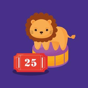 Leão de circo e bilhete
