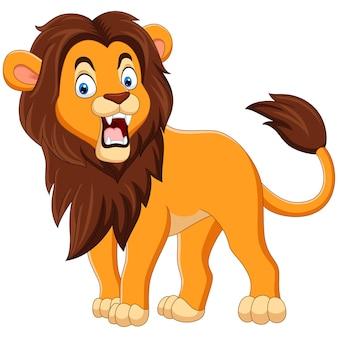 Leão de desenho animado rugindo isolado no branco