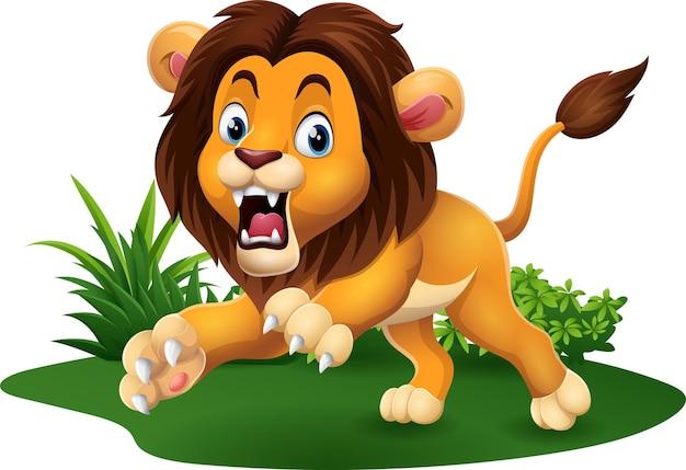 Leão de desenho animado rugindo na grama