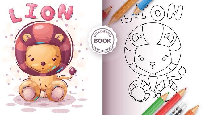Leão de pelúcia - livro de colorir para crianças