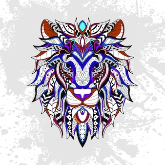 Leão decorado com formas abstratas