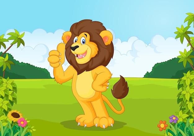 Leão dos desenhos animados, dando o polegar para cima