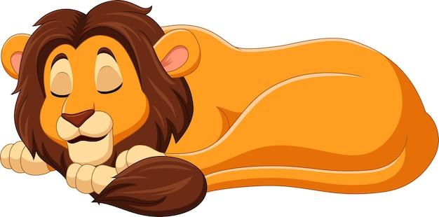 Leão dos desenhos animados dormindo no branco