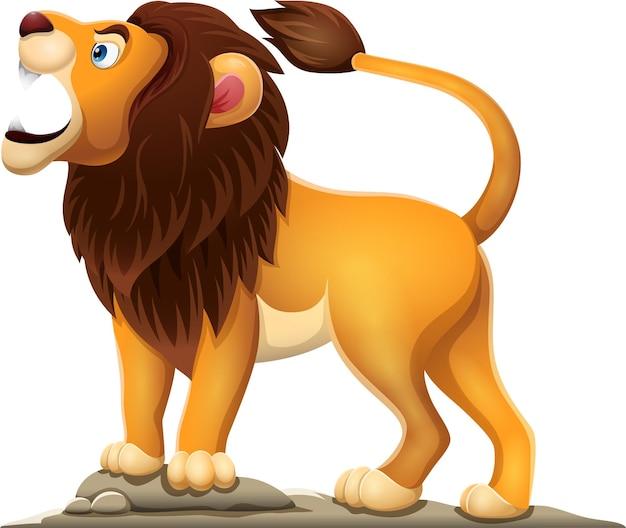 Leão dos desenhos animados rugindo isolado no fundo branco