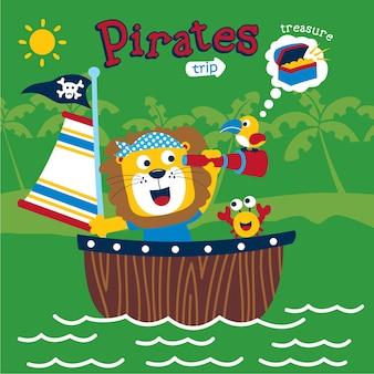 Leão dos piratas engraçado dos desenhos animados de animais