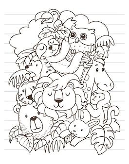 Leão e amigos doodle arte